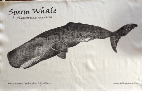 Sperm Whale Tea Towel