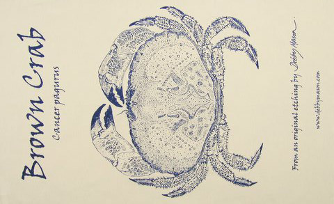 Brown Crab Tea Towel in 'My Designs'
