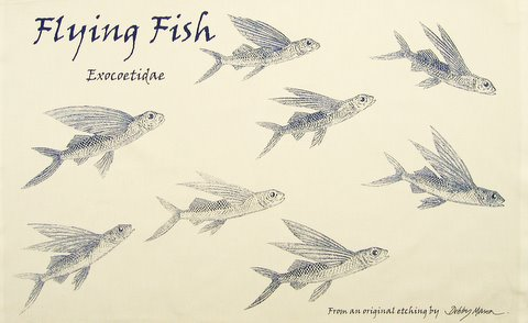 Flying Fish Tea Towel in 'My Designs'